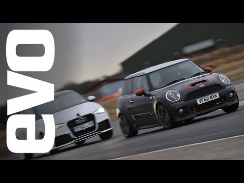 Mini GP2 vs Audi A1 quattro, Megane R26.R and Focus RS500 | evo TRACK BATTLE