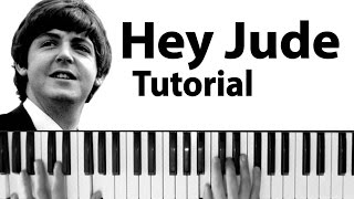 Beatles Hey Jude Piano tutorials with chords and lyrics, download music sheet