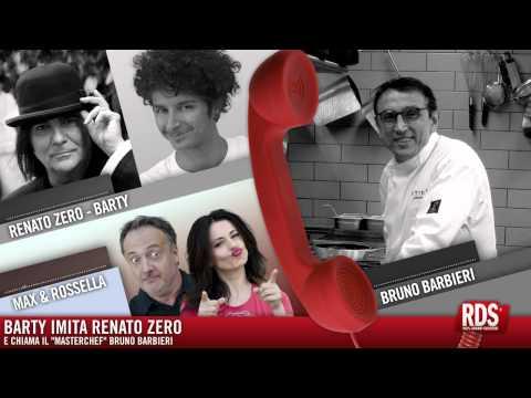 """Barty imita Renato Zero e chiama il """"Masterchef"""" Bruno Barbieri."""