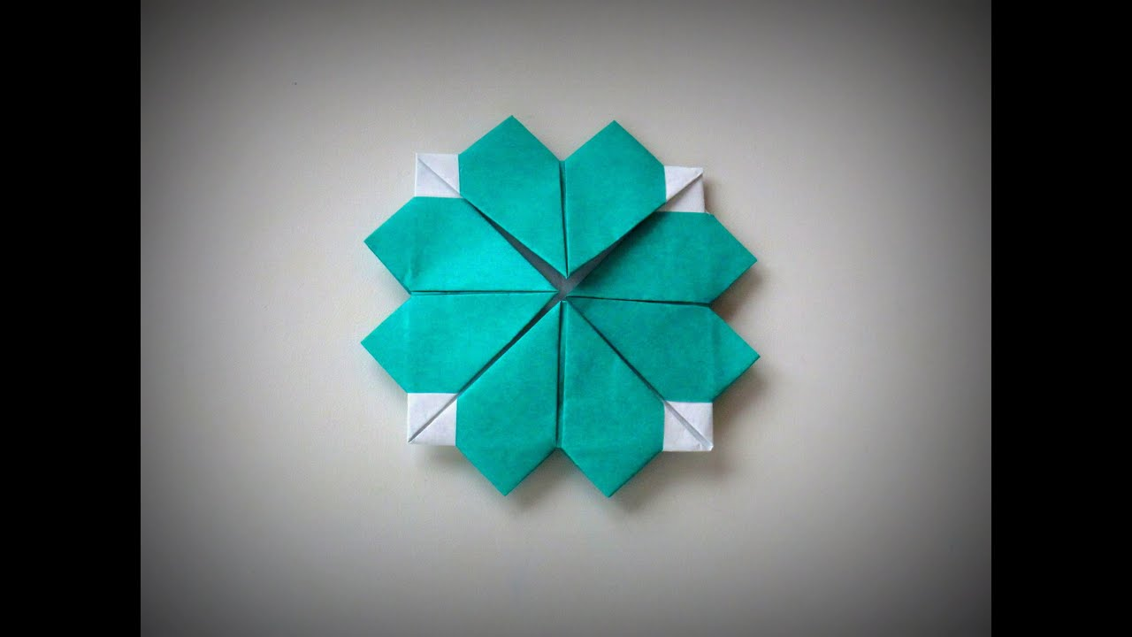 Origami - How to make a heart-shaped CLOVER - YouTube - photo#38