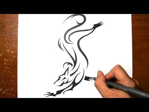 How I Draw a Dog - Tribal Tattoo Design Style