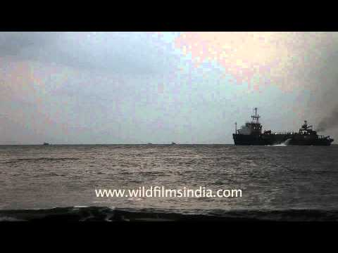 Cargo ship sailing on the Arabian Sea