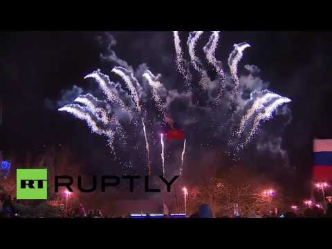 Ukraine: Sevastopol celebrates Crimean referendum with fireworks and flags