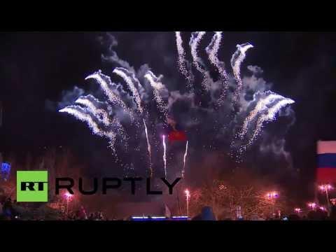 Ukraine: Sevastopol celebrates Crimean referendum with fireworks and flags