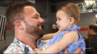 Baby has never seen her dad without a beard...till now!  Watch what happens!