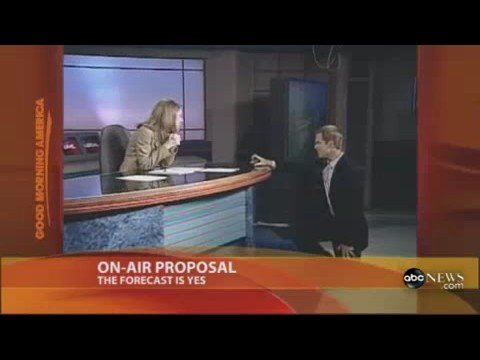 Weatherman Matt Laubahn pops the question to girlfriend and former co-anchor Emily Leonard during a live broadcast.