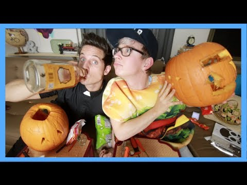 DRUNK PUMPKIN CARVING (ft. Sawyer Hartman) | Tyler Oakley thumbnail