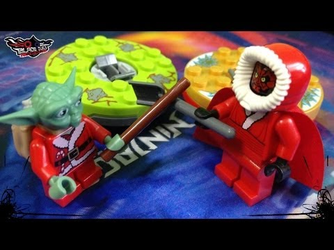 LEGO Yoda Santa VS. Darth Maul Santa Spinner Battle