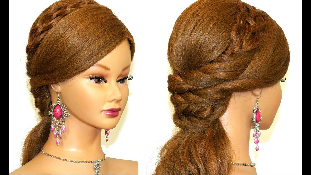 Easy prom hairstyle for long hair. - YouTube
