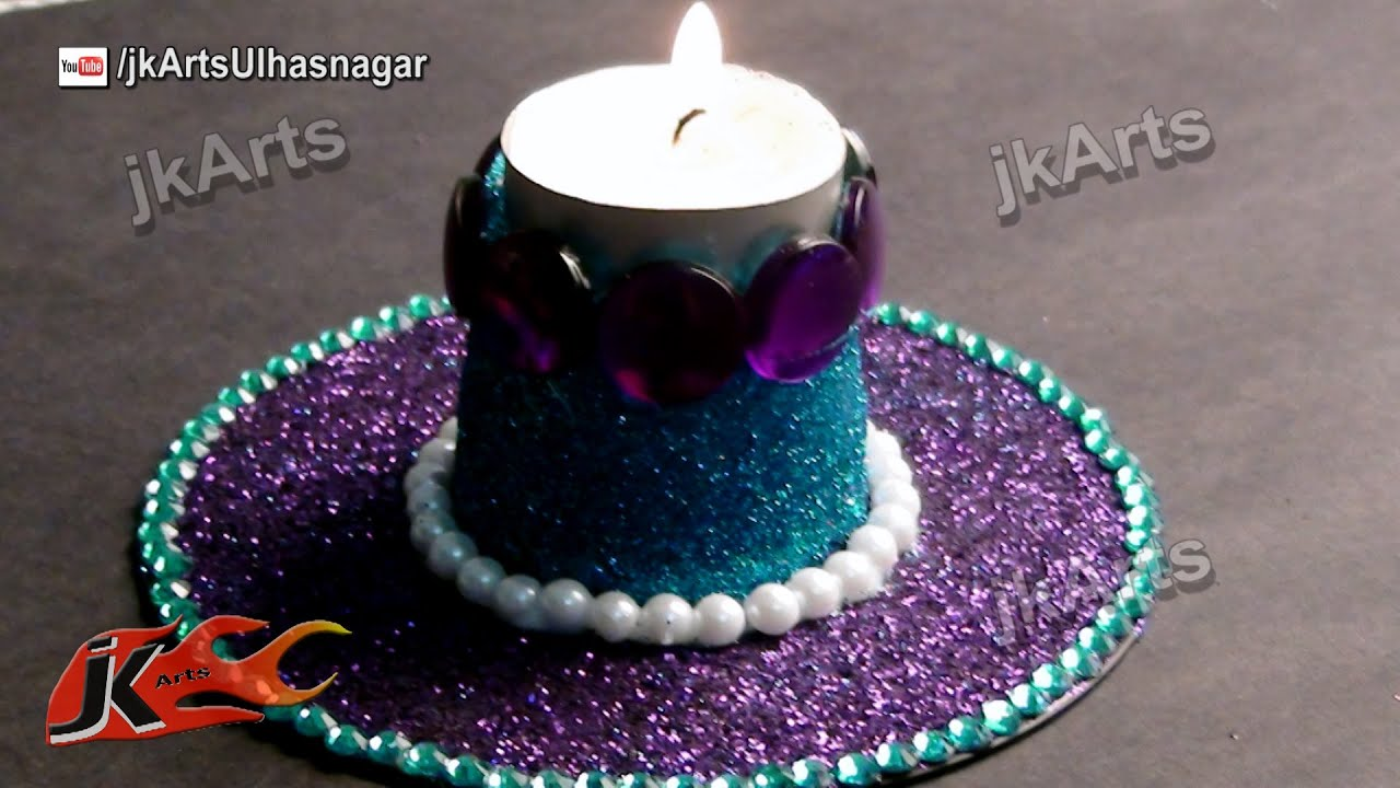 Diy glitter candle holder best out of waste dvd and for Best out of waste for class 1