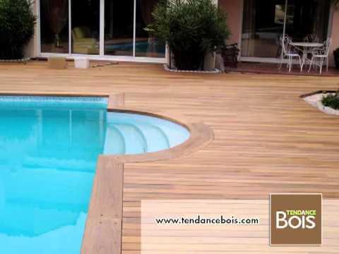 Pose de margelles de piscine en ip youtube for Abord piscine bois