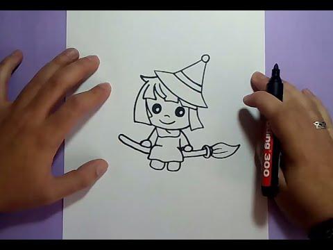Como dibujar una bruja paso a paso 7 how to draw a witch - Como construir una chimenea paso a paso ...