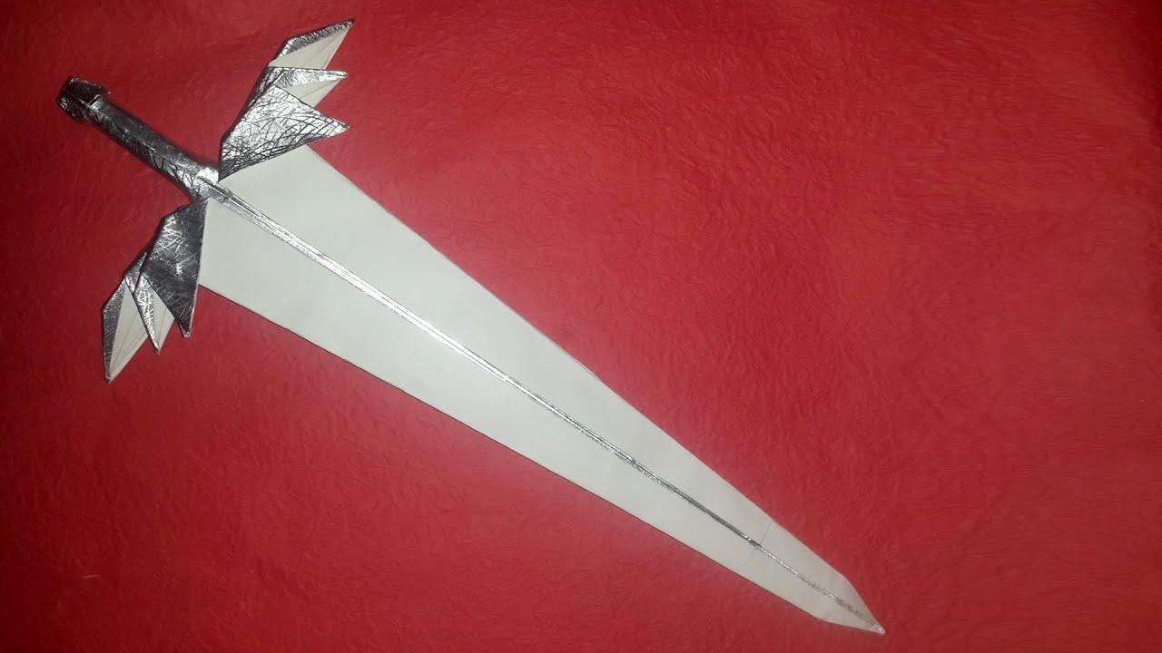 Как сделать из бумаги меч с чехлом
