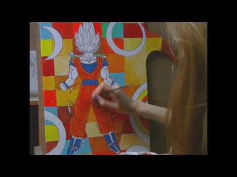 Dibujando y Pintando Goku super saiyan  / Drawing and Painting of Goku super saiyan