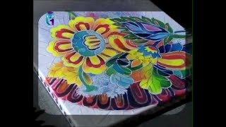 Do the flowers in cold batik technique