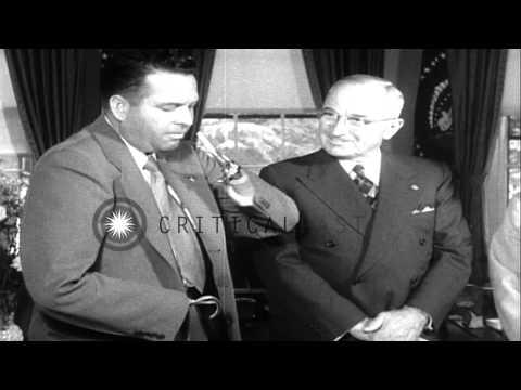 Amputees of World War II meet US President Harry S Truman in Washington and show Stock Footage