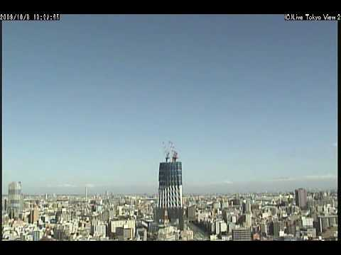 Tokyo Sky Tree in a day when a typhoon came.