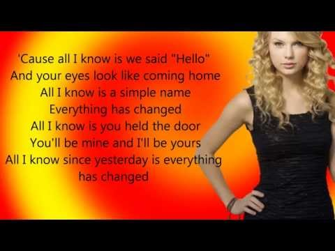 Taylor Swift- Everything Has Changed (new Song 2013) - Lyrics video