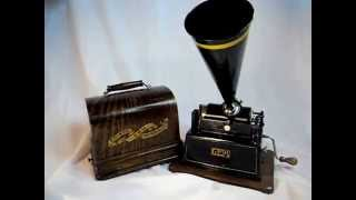 Thomas Edison's Electric Light Bulb Band Video - Edison Gem Cylinder Phonograph Record Player