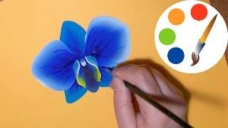How to paint The Blue Orchid, paint a flower, irishkalia