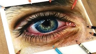 Speed Drawing: Drawing A Realistic Eye In Coloured Pencil