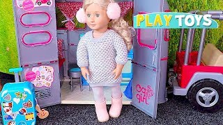 Baby Doll Travel Routine! 🎀 Playing American Girl Suitcase and Dress up!