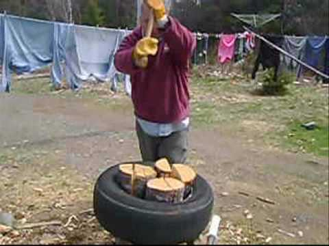 Splitting Wood With A Tire