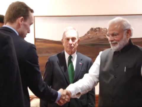 UN special envoy Michael Bloomberg meets Indian PM Narendra Modi