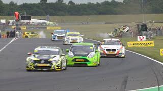 MEGA British Touring CAR CRASH Cameraman has a lucky Escape!!
