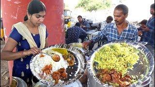 Delicious Roadside Veg & Non Veg Meals | Chicken Rice/Boti Rice/Fish Rice | Street Food Hyderabad