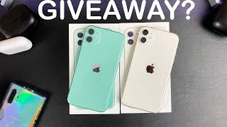 iPhone 11 Unboxing( WHITE & GREEN) - iPhone 11 GIVEAWAY?