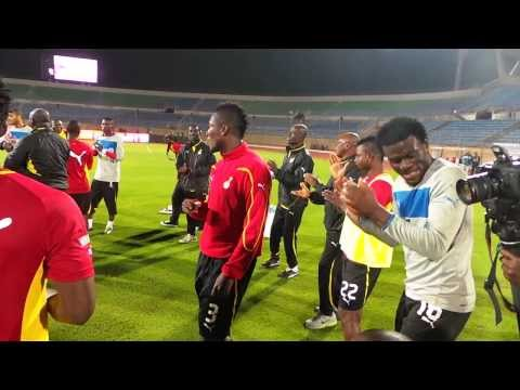 Ghana players sing before their World Cup playoff against Egypt in Cairo