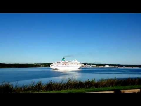Cruise Ship Reversing in local Sydney Nova Scotia Harbour