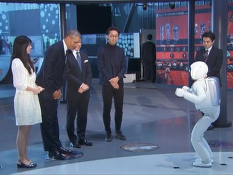 President Obama meets Japanese Robot