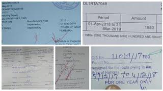 Taxi(commercial) car ke all documents kiya kiya hai