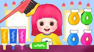 Baby Doli Color hair shop play and baby doll hair shop toys play