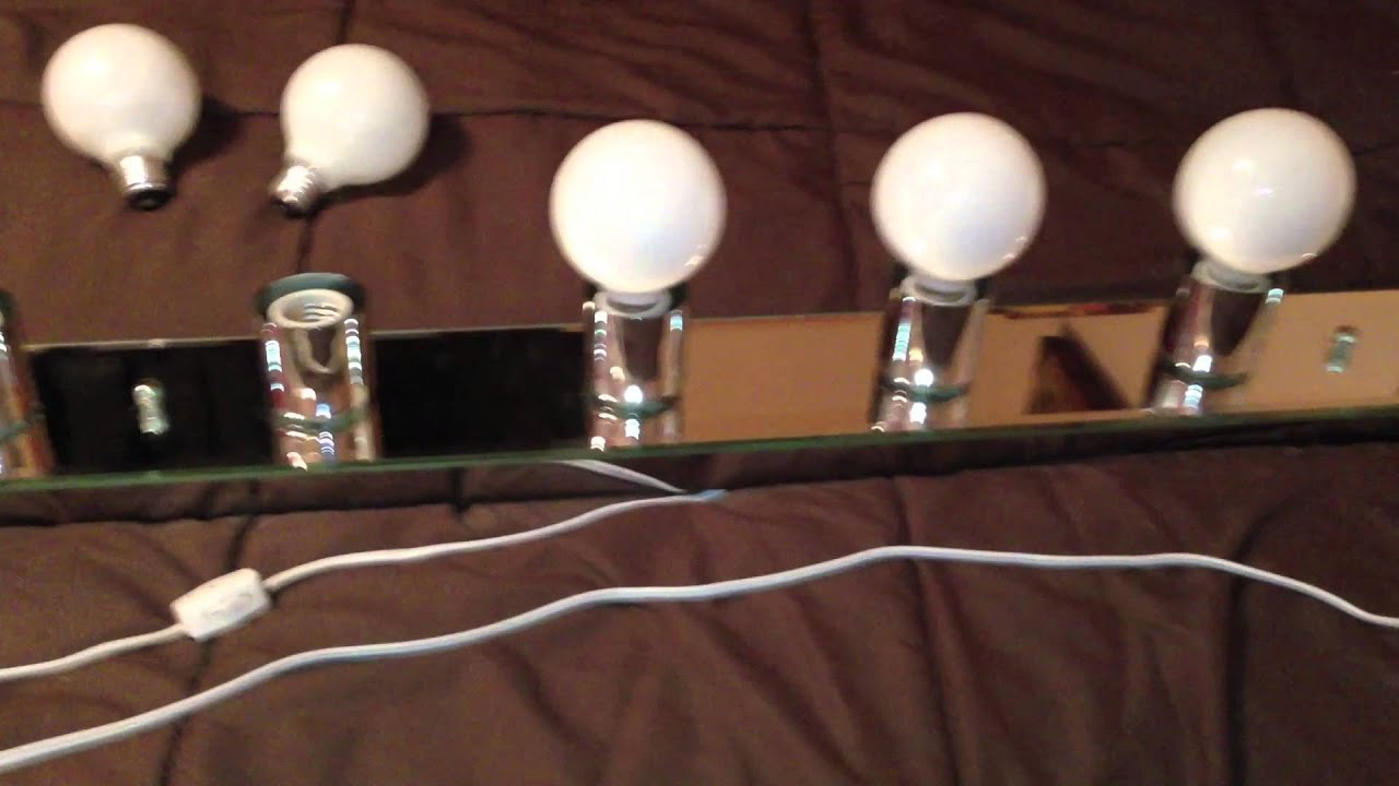 Homemade Makeup Vanity Lights Pt. 2 - YouTube