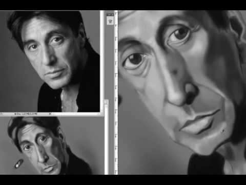 speed painting caricature Al Pacino