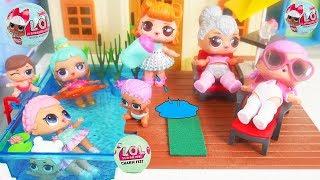 LOL Surprise Dolls + Lil Sisters at Playmobil Pool
