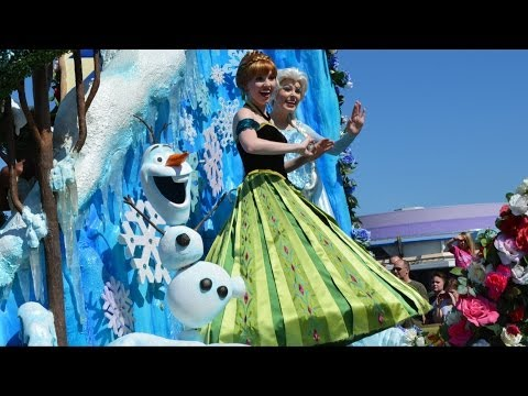 Princess Anna in Coronation Gown, Elsa & Olaf from FROZEN Parade Debut Disney Festival of Fantasy