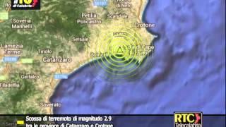 Scossa di terremoto tra le province di Catanzaro e Crotone RTC TELECALABRIA