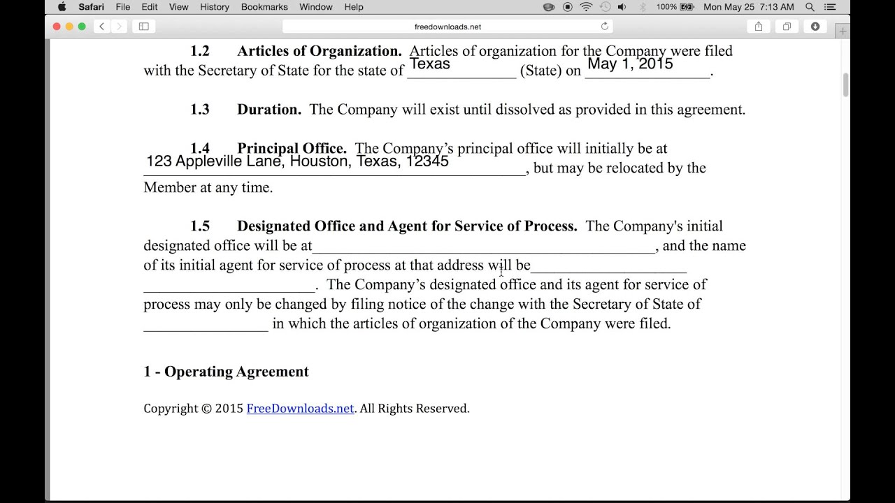 Free Michigan LLC Operating Agreement Forms  Word  PDF