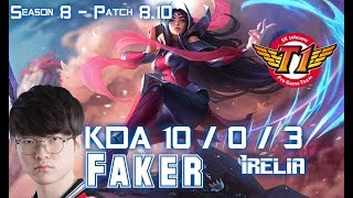 SKT T1 Faker IRELIA vs TWISTED FATE Mid - Patch 8.10 KR Ranked