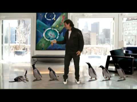 Fabian Waintal con los pinguinos argentinos de Jim Carrey en la película Mr Poppers Penguin's