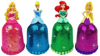DIY Play Doh Sparkle Disney Princess Dresses Frozen Elsa Ariel Magiclip Super Glitter Play Doh Dress