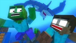 Monster School : Diving Shark Attack Challenge - Minecraft Animation