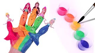 Learn Colors Disney Princess Mermaid Body Paint Spiderman Face Finger Family Song for Kids