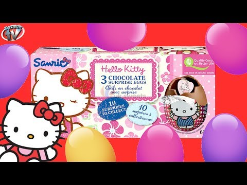 Hello Kitty Mystery Surprise Eggs x3: Chocolate Egg Toy Review & Unboxing, Easter Kinder