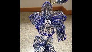 Синяя орхидея из бисера. Beaded orchid. Бисероплетение.