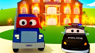 The Car Patrol: fire truck and police car Supertruck needs help! in Car City